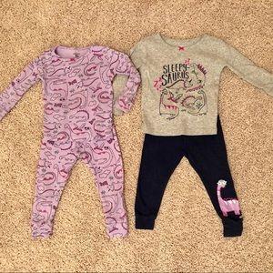 2 sets of Carter's mix & match dinosaur pajamas